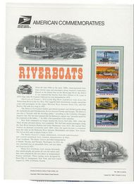 3091-95 32c Riverboats (5) USPS Cat. 496 Commemorative Panel cp496
