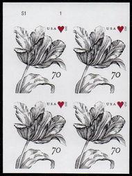 4960i 70c Vintage Tulip Mint Imperf Plate Block 4960ipb