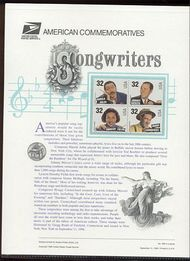 3100-03 32c Songwriters USPS Cat. 498 Commemorative Panel cp498