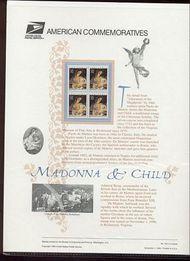 3107 32c Madonna & Child USPS Cat. 502 Commemorative Panel cp502