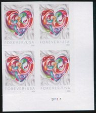 5036i Forever Quilled Paper Heart Imperf Plate Block 5036ipb