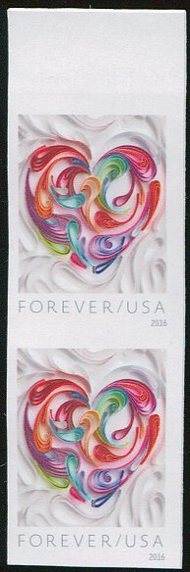 5036i Forever Quilled Paper Heart Imperf Vertical Pair 50361vp