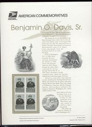 3121 32c Benjamin O. Davis Sr USPS Cat 505 Commemorative Panel cp505