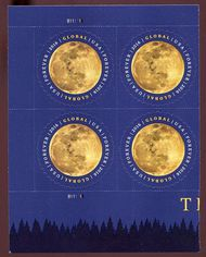 5058 Global Forever The Moon Plate Block of 4 5058pb