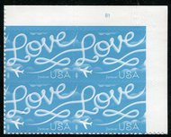 5155 Forever Love Skywriting Plate Block of 4 5155pb