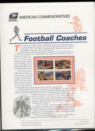 3143-46 32c Football Coach USPS Cat. 517 Commemorative Panel cp517