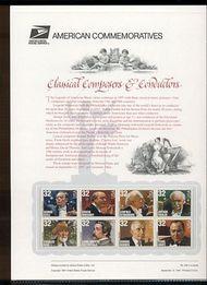 3158-65 32c Composers USPS Cat. 522 Commemorative Panel cp522