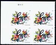 5255 Forever Love Flourishes Plate Block 4255pb