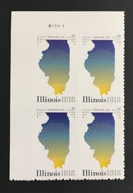 5274 Forever Illinois Statehood Plate Block of 4 5274pb