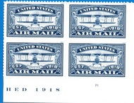 5281 Forever Airmail Blue Plate Block of 4 5281pb
