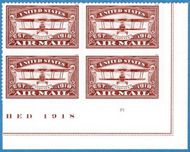 5282 Forever Airmail Red MintPlate Block of 4 5282pb