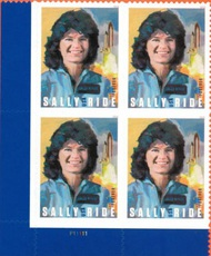 5283 Forever Sally Ride, Astronaut Mint Plate Block of 4 5282pb