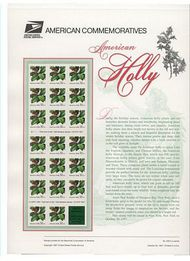 3177a32c Holly Pane USPS Cat. 530 Commemorative Panel cp530