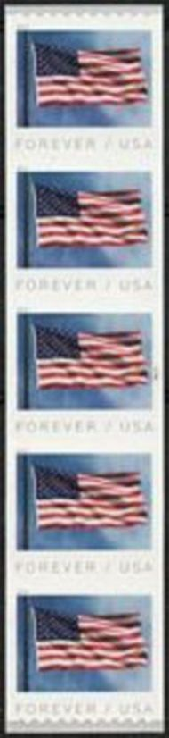5342 Forever Flag Coil AP Mint Plate Number Strip of 5 5342pnc5