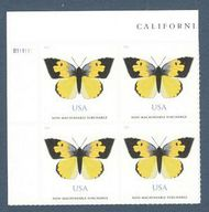 5346 (70c) California Dogface Butterfly Plate Block of 4 5346pb