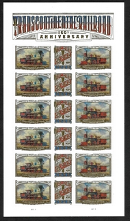 5378-80 Forever Intercontinental Railroad Mint Sheet of 18 5378-80sh