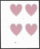 5431 Forever Made of Hearts  Mint Plate Block of 4 5431pb