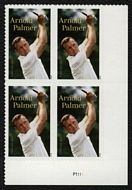 5455 Forever Arnold Palmer Mint Plate Block of 4 5455pb