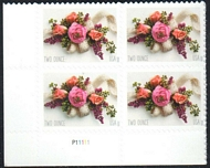 5458 Forever (2 ounce) Garden Corsage Mint Plate Block of 4 5458pb