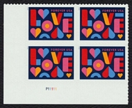 5543 Forever LOVE Mint Plate Block of 4 5543pb