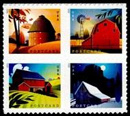 5546-29  Postcard Rate Barns Mint  Block of 4 5546-9nh