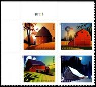 5546-29  Postcard Rate Barns Mint  Plate Block of 4 5546-9pb