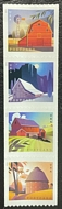 5550-53 Postcard Rate Barns Mint  Coil  Strip of 4 5550-3nh