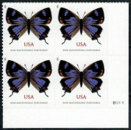 5568 (2 ounce rate) Colorado Hairstreak Butterfly Mint Plate Block of 4 5568pb