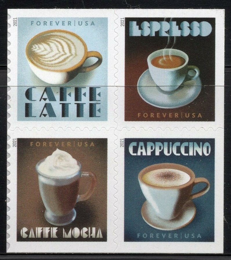 5569-72 Forever Espresso Drinks Mint Block of 4 5569-72nh
