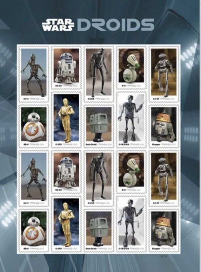 5573-82 Forever Star Wars Droids Mint Sheet of 20 5573-82sh