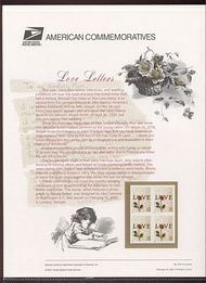 3497 34c Rose & Love Letter Commemorative Panel CAT 619 cp619