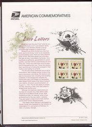 3499 55c Rose & Love Letter  Commemorative Panel CAT 620 cp620