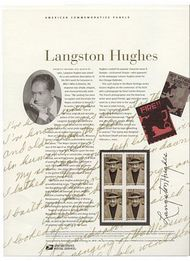 3557 34c Langston Hughes Commemorative Panel CAT 647  cp647