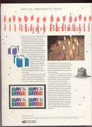 3558 34c Happy Birthday Commemorative Panel CAT 648  19112