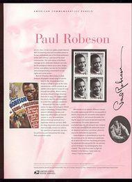 3834 37c Paul Robeson Commemorative Panel CAT 702 cp702