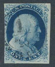 8A 1c Franklin, Type IIIa, Imperforate F-VF Used 8aused