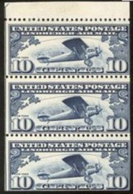 C 10a 10c Lindbergh F-VF Mint NH Booklet Pane of 3 c10anh