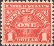 J 87 $1 Carmine Postage Due F-VF NH j87nh