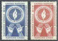UNNY 21-22 3c-5c Human Rights UN New York F-VF Mint NH ny21-22