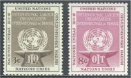UNNY 25-26 3c-8c Inrl Labor Organ UN New York F-VF Mint NH ny25-26