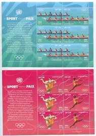 UNG 621-24 1.00,2.00 Fr Sport For Peace Sheets of 6 ung621-4sh
