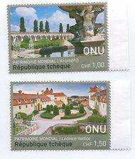 UNG 625-26 1.00,150 Fr UNESCO Czech Rep Singles ung625-6nh