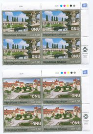 UNG 625-26 1.00,150 Fr UNESCO Czech Rep Insc. blocks ung625-6ib