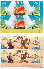 UNNY 1137-40 47c,$1.15 Sport For Peace Inscription Blocks ny1137-40prs