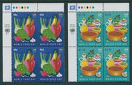 UNNY 1175-1176 49c, $1.15 World Food Day Inscription Blocks unny1175