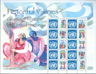 UNNY 931s 84c Peaceful Visions, sheet of 10 with labels ny931sh