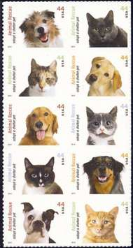 4451-60 44c Shelter Pets F-VF NH Plate Block of 10 4451-60pb