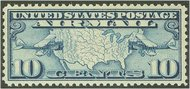 C  7 10c Map, Blue F-VF Mint NH C7NH