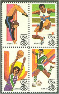 C101-4 28c Summer Olympics Set of 4 Singles Used c101usg
