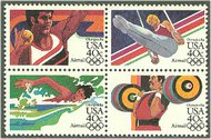 C105-8 40c Summer Olympics Attached Block of 4 Used c105used